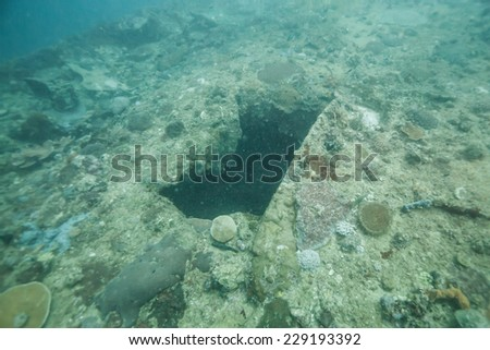 A broken hole on world war II shipwreck in Coron area, Palawan, Philippines.