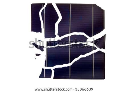 a broken solar cell wafer - stock photo
