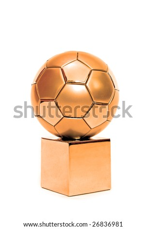 A bronze soccer trophy. All on white background. - stock photo