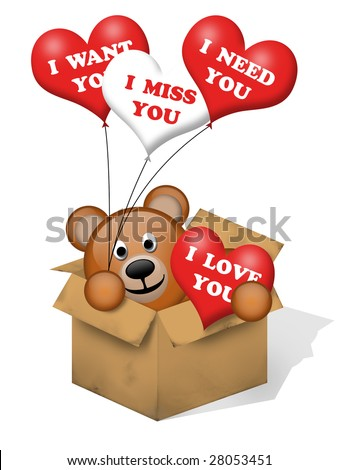 A brown bear in a box with some hearts - stock photo