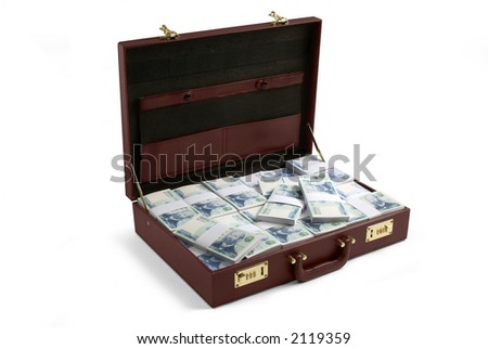 a brown briefcase  filled with bills, has clipping path - stock photo