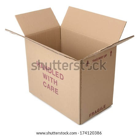 A brown cardboard box open and isolated on a white background - stock photo
