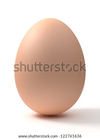 A brown chicken egg isolated on white background. Computer generated image with clipping path.