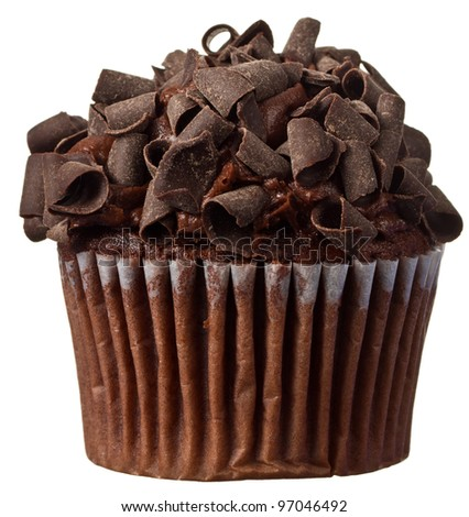 A Brown Chocolate Cupcake with Chocolate Sprinkles - stock photo