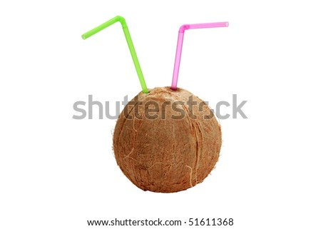 a brown coconut with straws in it, isolated on white with room for your text or images - stock photo
