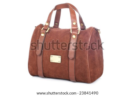 A brown handbag isolated on white background