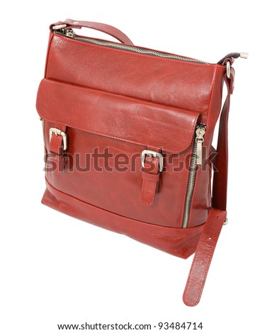 a brown leather ladies handbag, isolated over white
