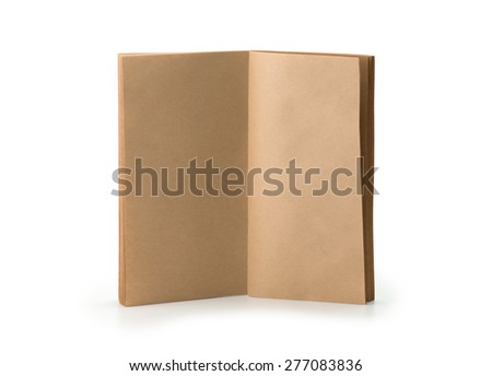 A brown paper booklet standing, pages open, isolated on white. - stock photo