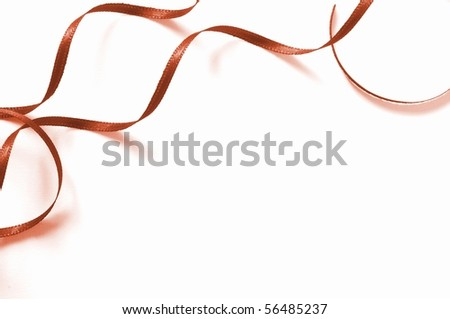 a brown ribbon isolated on white background - stock photo