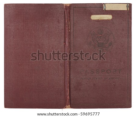 A brown U.S. Passport from the 1920s open to show back and front cover. Isolated on white with clipping path. - stock photo