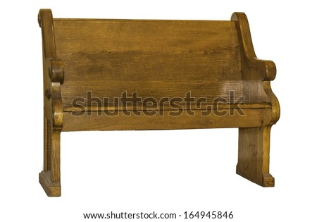 A brown wooden church pew isolated on a white background. - stock photo