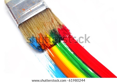a brush with paint and brushstrokes of different colors in a white background - stock photo