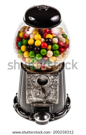 a bubble gum vending machine isolated over white background