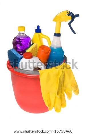 A bucket of cleaning supplies isolated on white. - stock photo
