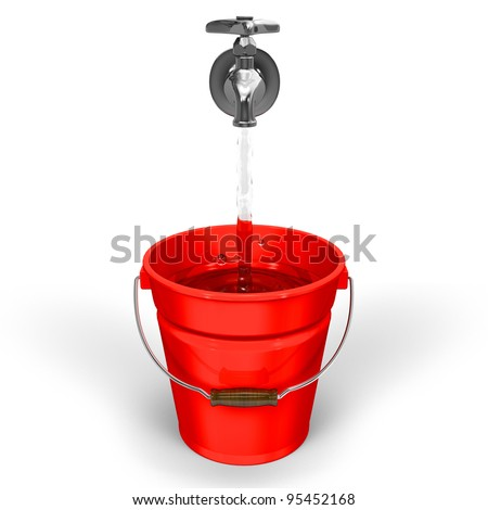 A Bucket Of Water front view - stock photo