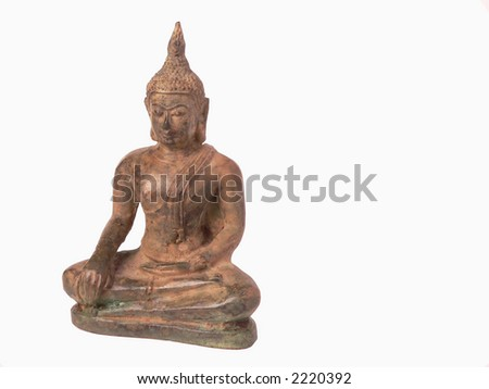 A buddhist statue isolated in a white background - stock photo