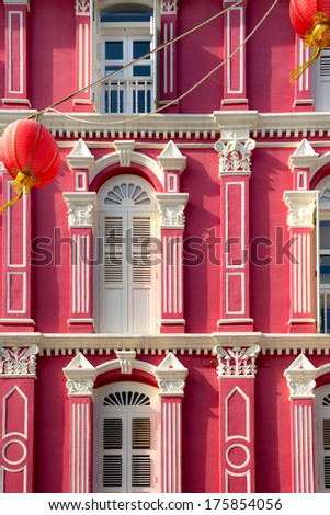 A building facade in Singapore's Chinatown. - stock photo