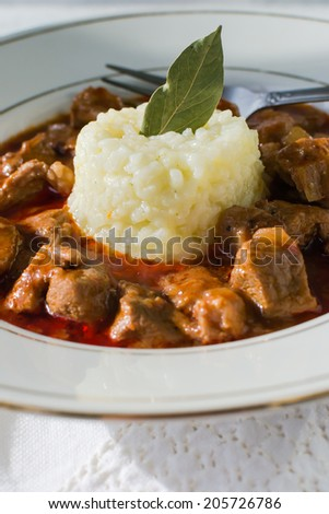 A Bulgarian-style pork stew with tomato sauce with red wine and white rice - stock photo