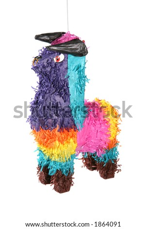A bull shaped pinata hanging from the ceiling - stock photo