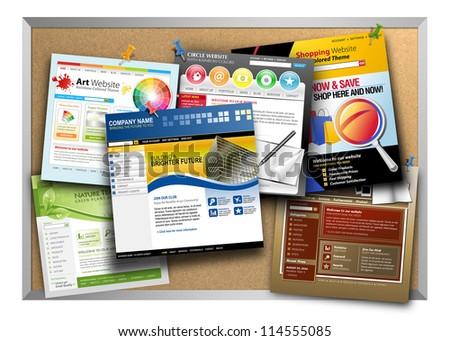 Bulletin Board Has Variety Template Websites Stock Illustration