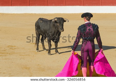 A bullfighter in front of the bull in an spanish bullfighting - stock photo
