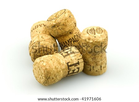 A bunch of Champagne corks on a white background. - stock photo