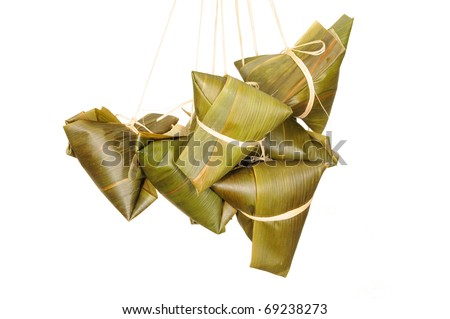 A Bunch Of Chinese Rice Dumplings On White Background - stock photo