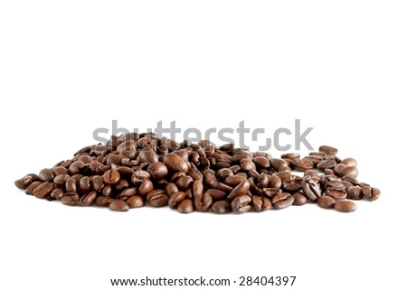 A bunch of coffee beans isolated on white background - stock photo