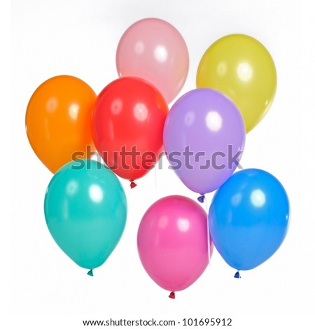 A bunch of colorful balloons, isolated on white background