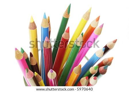 A Bunch of Colour Pencils - stock photo