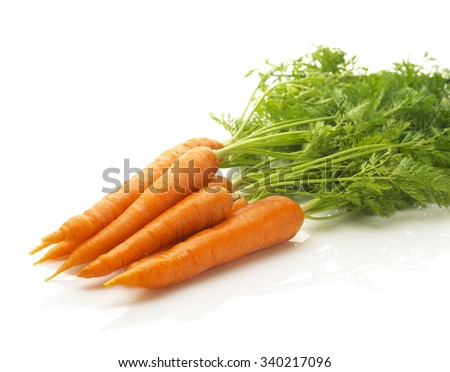 a bunch of fresh carrots isolated on a white background - stock photo