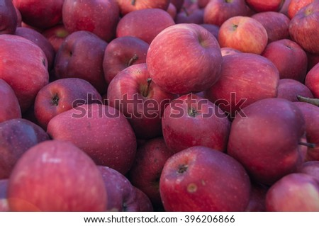 A bunch of fresh red apples