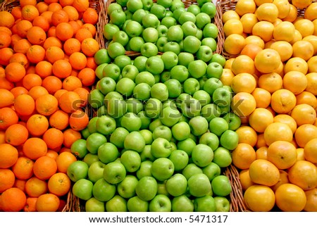 A bunch of green apples on the market - stock photo