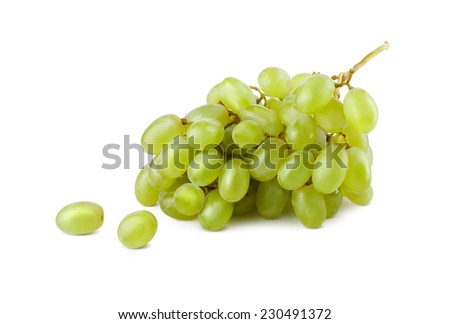 A bunch of green grapes on white background. - stock photo