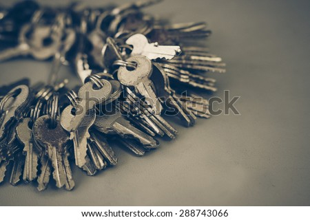 a bunch of keys with vintage tone - stock photo