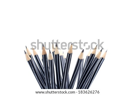 A bunch of pencils isolated on white - stock photo