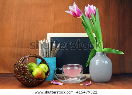 Bunch Pink Tulips Vase Slate Board Stock Photo 415479322 Shutterstock