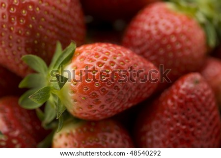 A Bunch of Strawberries with Selective Focus - stock photo