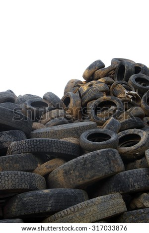 A bunch of  tyres- isolated on white