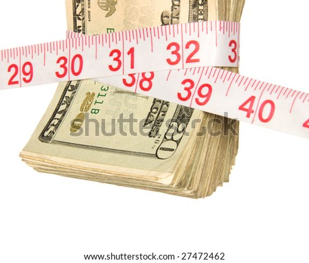 A bundle of cash being squeezed tighter due to the recession.  Image infers a bad economy, tighter home finances, government bailouts and an overall need to spend wiser. - stock photo
