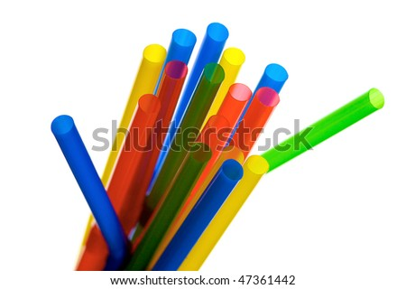 a bundle of colourful straws - stock photo