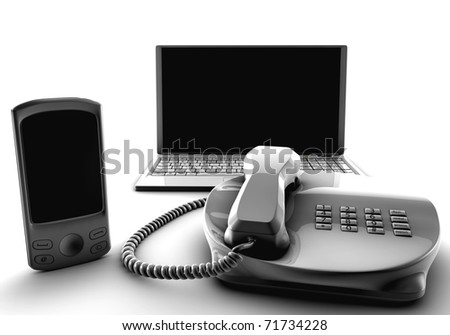 A bundle of fix and cell and laptop isolated on white - stock photo