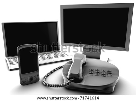 A bundle of four main telco services isolated on white - stock photo