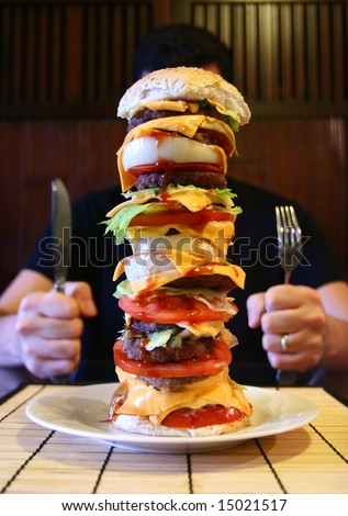 A burger containing 12 individual patties.