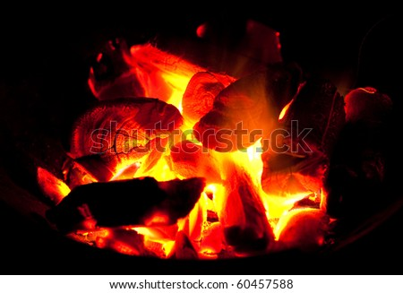 A burning charcoal. - stock photo