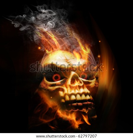 A burning skull with red eyes. - stock photo