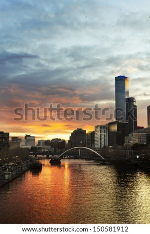 A burning sunset in Melbourne city, Australia.