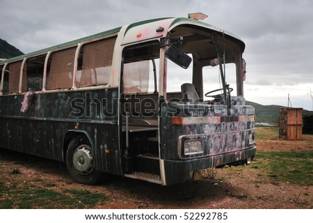 a bus in a  Alternative playground for paintball