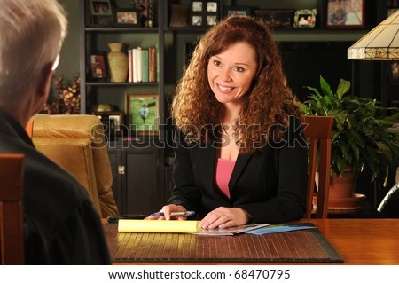 a business agent visits the home of a client