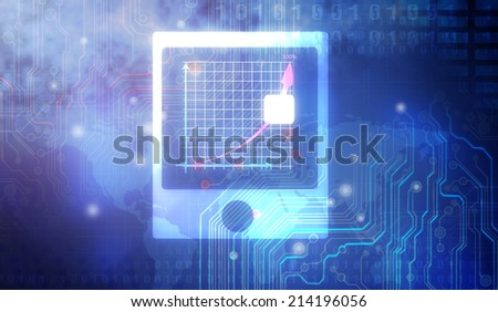 a Business hand pressing a chart - stock photo